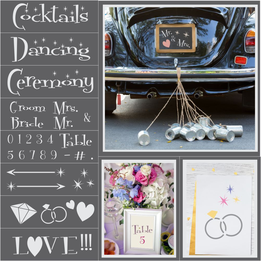 Vegas Wedding 8 Piece Craft Stencil Kit
