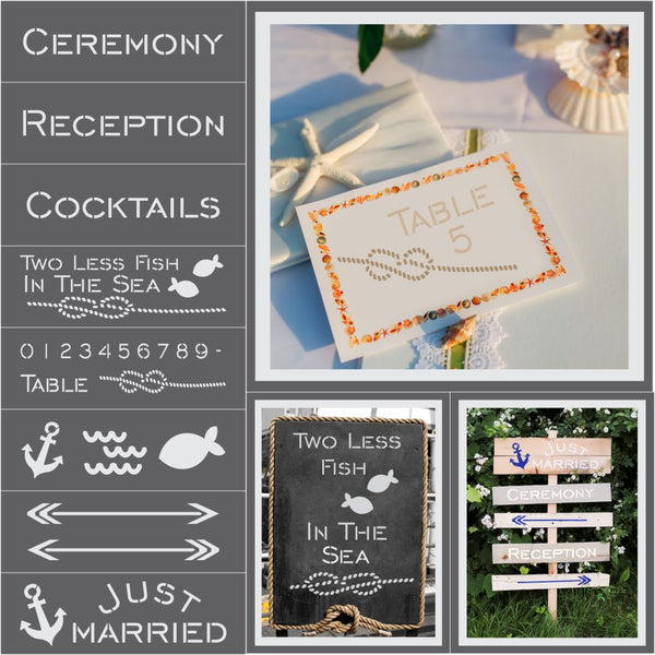 Nautical Wedding 8 Piece Craft Stencil Kit