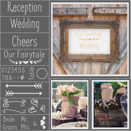Rustic Wedding 8 Piece Craft Stencil Kit