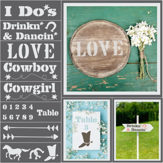 Western Ranch Wedding 8 Piece Craft Stencil Kit