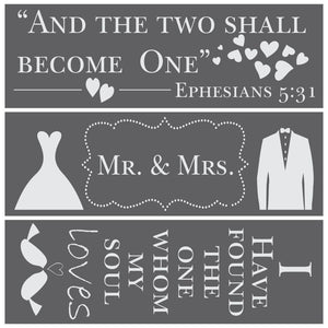 Love Divine Wedding 3 Piece Craft Stencil Kit by Crafty Stencils