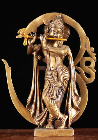 Brass Krishna Playing Flute with OM Symbol
