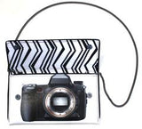 Camera Clutch designed by Kent Stetson | open w/ cross-body chain