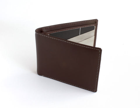 Stewert Stand Stainless Steel Wallet | Leather Billfold Brown