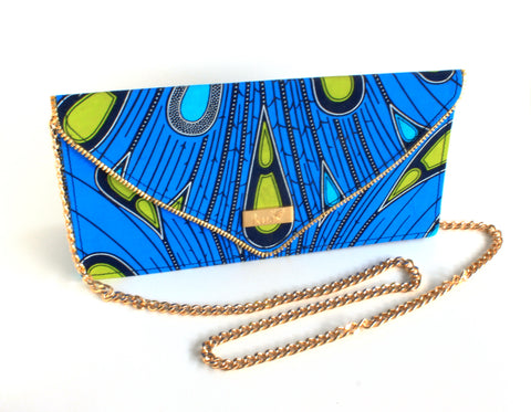Alima Large Envelope Clutch | Handmade in Ghana | Blue 2
