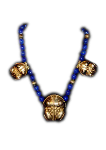 Beaded Lapis Lazuli and Gold Necklace | Maria Pujana Designs