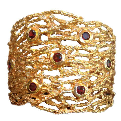 Garnet and 18K Gold Plated Bracelet | Maria Pujana Designs