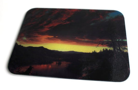 Twilight in the Wilderness Glass Cutting Board