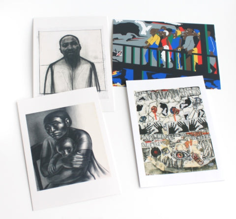 African American Prints Notecards Boxed Set | Mother and Child by John Woodrow Wilson, Black Heads by Dexter Davis, Martin Luther King Jr. by John Woodrow Wilson, Confrontation on the Bridge by Jacob Lawrence