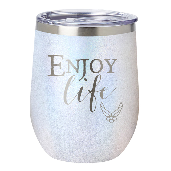 "PURE Drinkware 10 oz Stemless Wine Glass - Air Force, ""Enjoy Life"" (White) - PURE Drinkware"