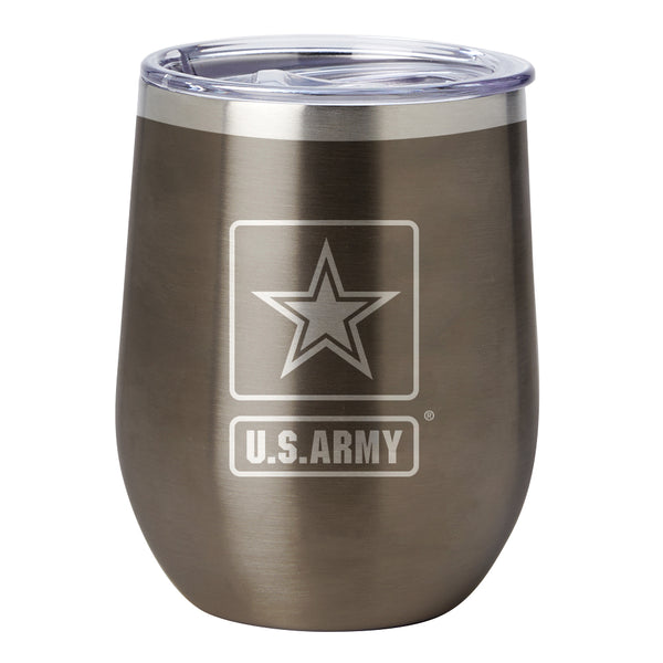 PURE Drinkware 10 oz Stemless Wine Glass - Army (Gunmetal) - PURE Drinkware