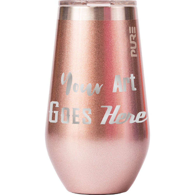 16 oz Stemless Wine Cup - Rose Gold - Custom Engraved