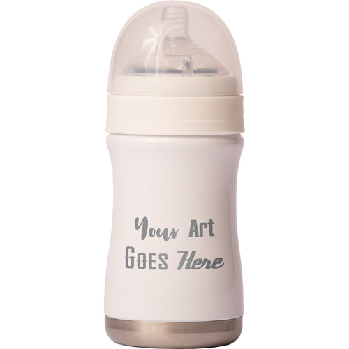 8 oz Baby Bottle - White - Custom Engraved
