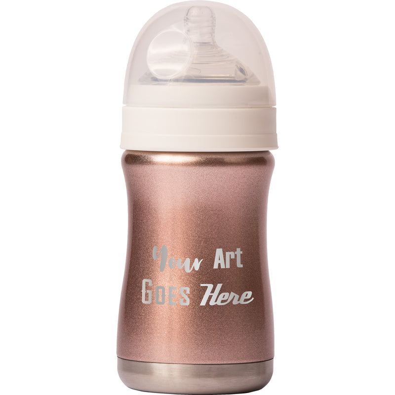 8 oz Baby Bottle - Rose Gold - Custom Engraved
