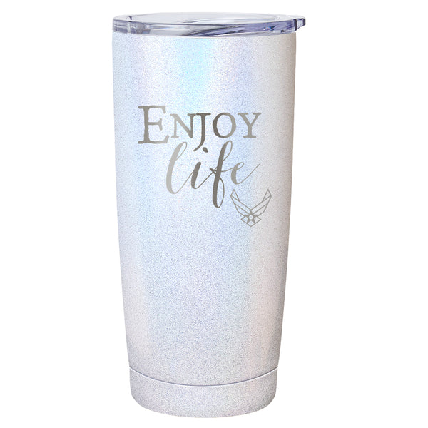 "PURE Drinkware 20 oz Tumbler - Air Force, ""Enjoy Life"" (White) - PURE Drinkware"