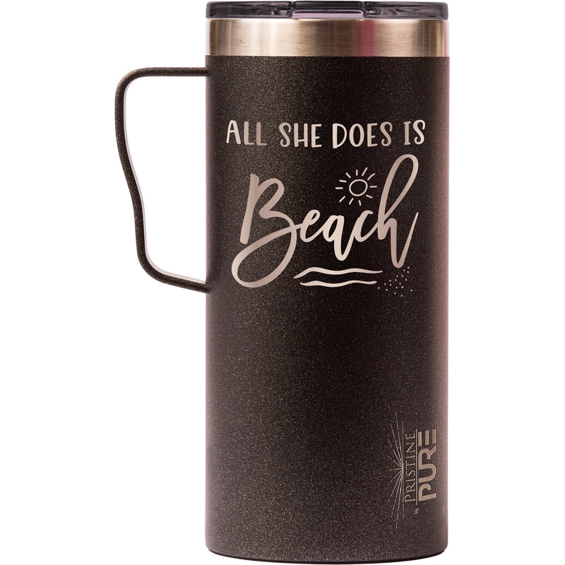 """It Fits"" 18oz Antimicrobial Thermal Mug - All She Does Is Beach"