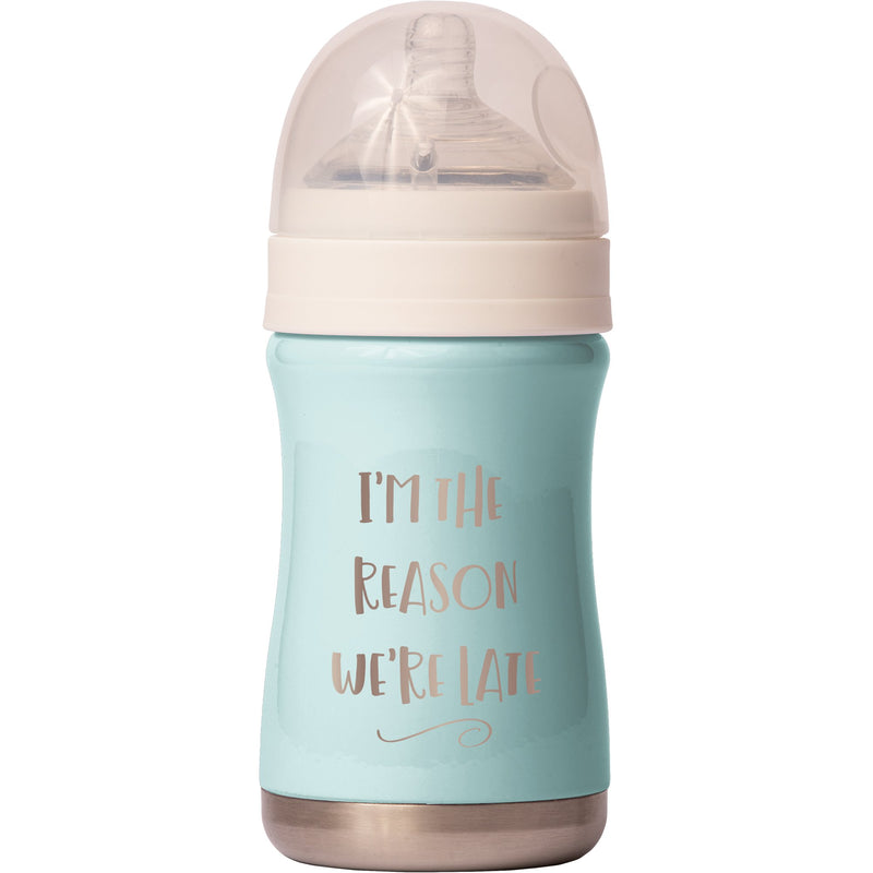 """Relax"" 8oz Antimicrobial Baby Bottle - I'm the Reason We're Late"