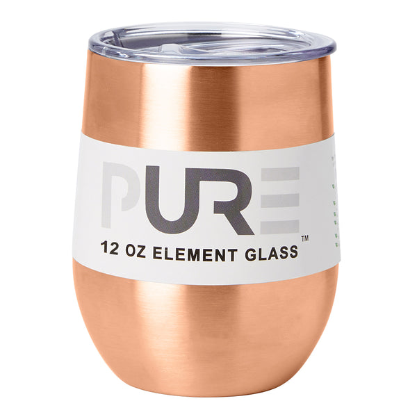 PURE Drinkware 12 oz Stemless Wine Glass - Copper