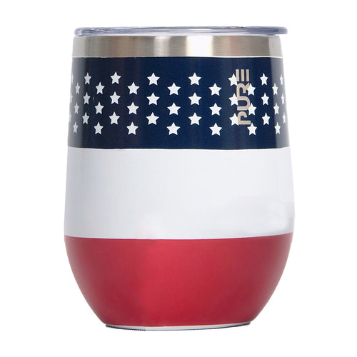 PURE Drinkware 12 oz Stemless Wine Glass - US Flag