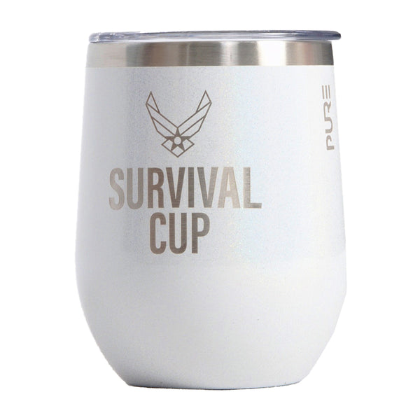 PURE Drinkware 10 oz Stemless Wine Glass - Air Force Survival Cup (White) - PURE Drinkware