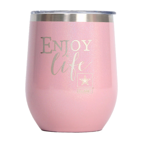 "PURE Drinkware 10 oz Stemless Wine Glass - Army, ""Enjoy Life"" (Pink) - PURE Drinkware"