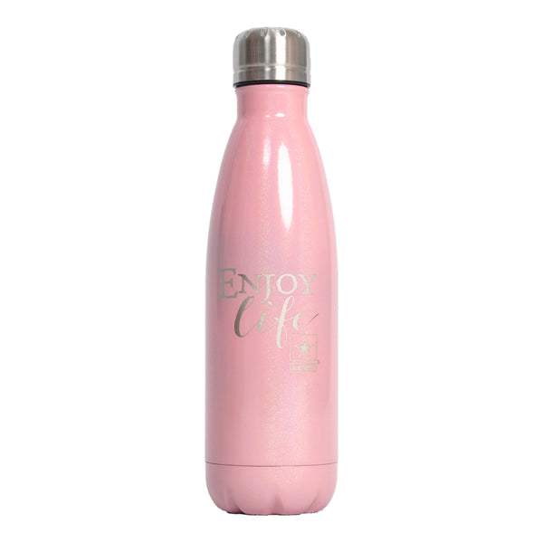 "PURE Drinkware 17 oz Bottle - Army, ""Enjoy Life"" (Pink) - PURE Drinkware"
