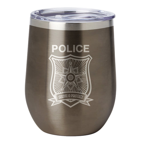 PURE Drinkware 10 oz Stemless Wine Glass - Police Department (Police Grey) - PURE Drinkware