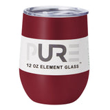 PURE Drinkware 12 oz Stemless Wine Glass - Crimson