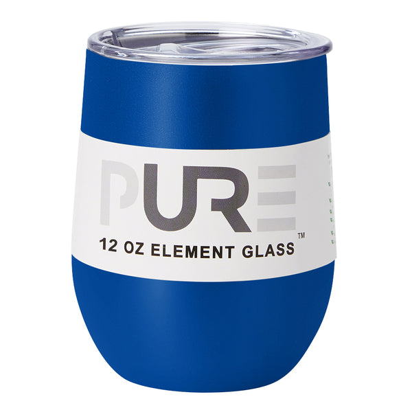 PURE Drinkware 12 oz Stemless Wine Glass - Royal Blue