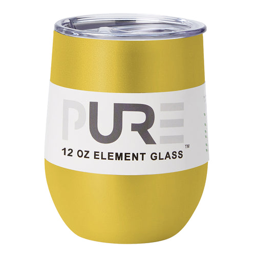 PURE Drinkware 12 oz Stemless Wine Glass - Yellow