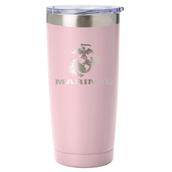 PURE Drinkware 20 oz Tumbler - Marine Corps (Candy Blush) - PURE Drinkware