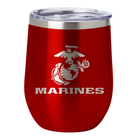 PURE Drinkware 12 oz Stemless Wine Glass - Marine Corps (Candy Blush)