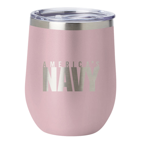 PURE Drinkware 10 oz Stemless Wine Glass - US Navy (Candy Blush) - PURE Drinkware
