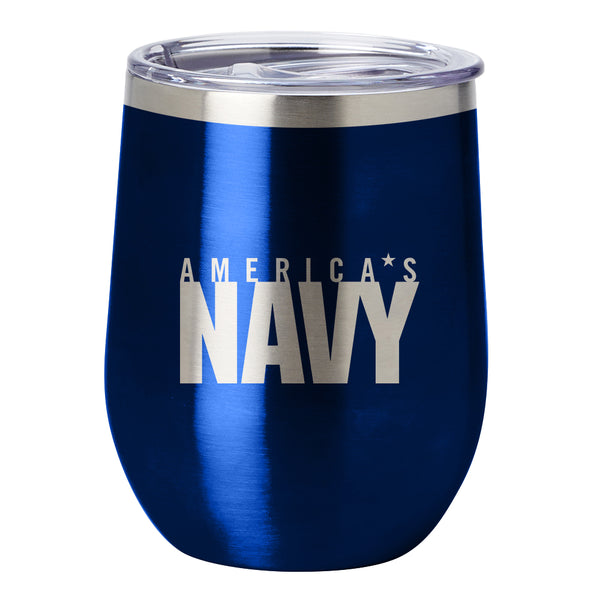 PURE Drinkware 10 oz Stemless Wine Glass - US Navy (Navy Blue) - PURE Drinkware