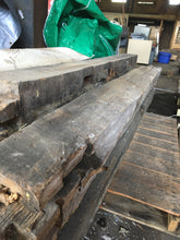 "2 Antique Reclaimed Oak Beams, Rustic Architectural Salvage 7'x8""x7"""