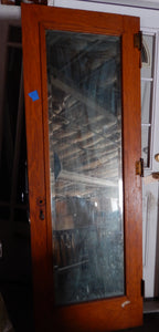 "Large Mirror Door Solid Wood Antique 80"" x 28"" Excellent"