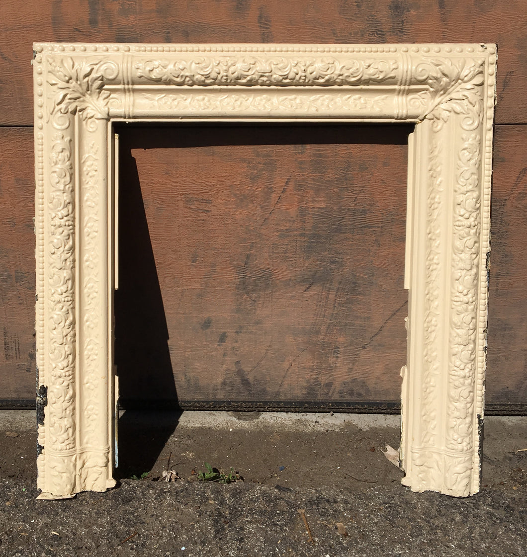 White Victorian Cast Iron Fireplace Surround, Floral Edge Pattern 30