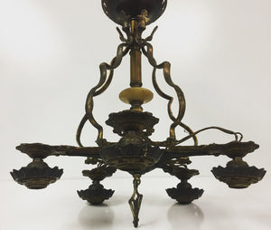 Hollywood Regency 5 Point Star Hanging Chandelier, Gothic Brass Dark Design