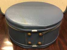 Women's Antique Train Travel Hat Case, Navy Blue Shabby Chic