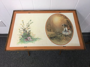 Vintage Mid-Century Modern Folding Tray, Little Girl In The Meadow Floral Art