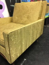 Mid Century Danish Living Room Chair, Shiny Gold Floral Pattern Fabric