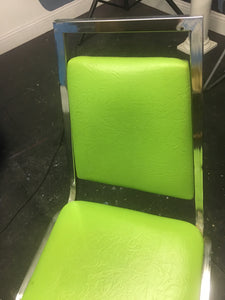 Funky Retro Atomic Green Chair, Chrome Frame w/ Atomic Style Vinyl