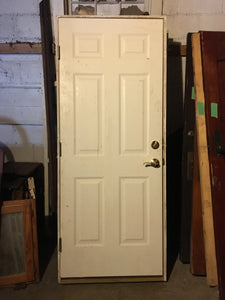 "White Exterior Door w/ Frame 79"" x 32"" Excellent"