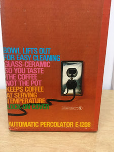 New Corning Automatic Percolator Coffee Maker, Complete Model E-1208