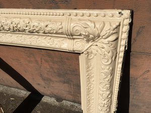 "White Victorian Cast Iron Fireplace Surround, Floral Edge Pattern 30"" x 30"""