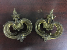 2 Matching Victorian Brass Drawer Pulls Ornate 1930s Excellent