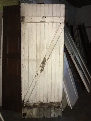 Weathered Shabby Chic Barn Door, Crackle White Solid Exterior 78
