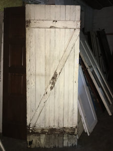 "Weathered Shabby Chic Barn Door, Crackle White Solid Exterior 78""x28"""