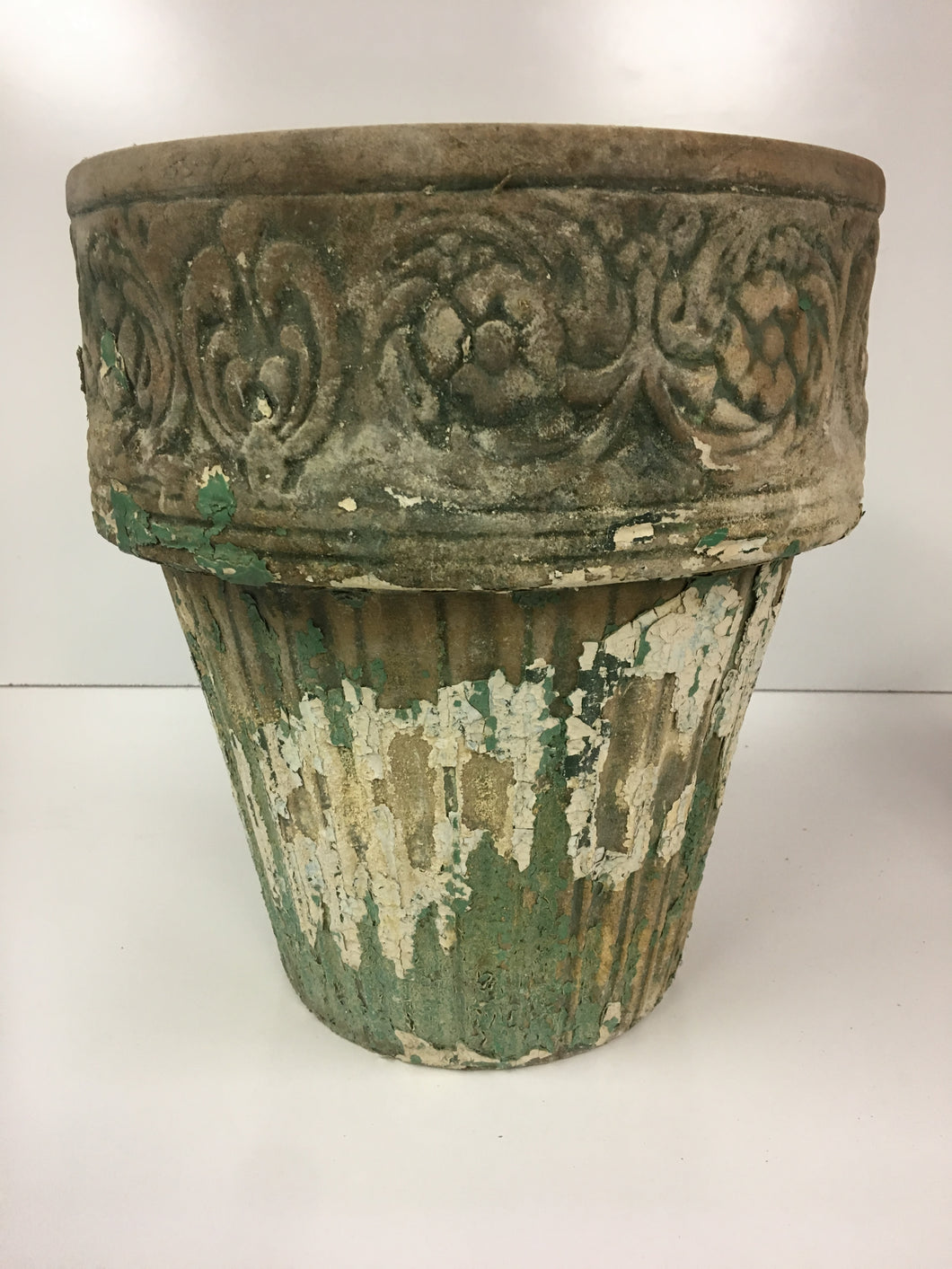 Victorian Shabby Terra Cotta Planter Italian Floral & Grape Design