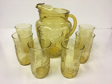 Anchor Hocking SPRING SONG 7 Piece Refreshment Set EXCELLENT